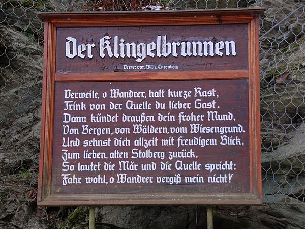 Gedicht von Willi Ehrenberg am Klingelbrunnen in Stolberg Harz