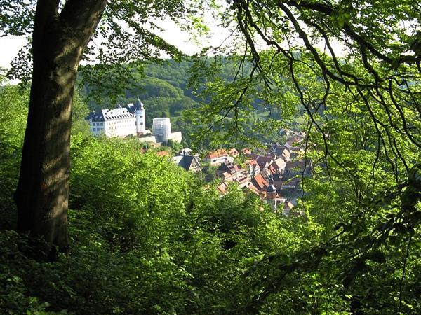 über den Fachwerkhäuschen im Tal thront das Stolberger Schloss, Blick vom oberen Bandweg