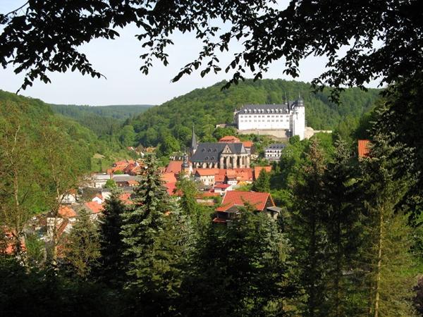 Blick vom oberen Bandweg zum Stolberger Schloss