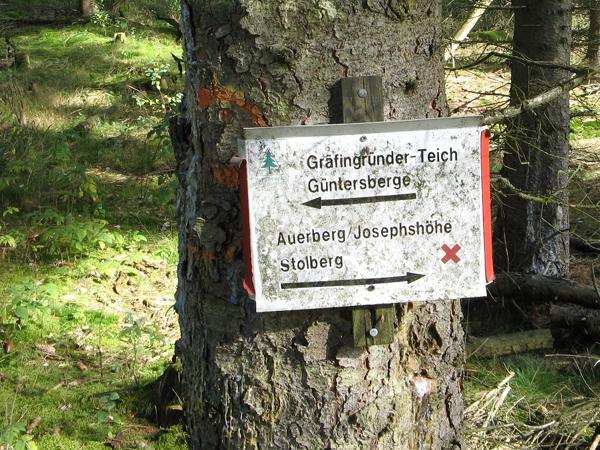 Wegweiser zum Gräfingründer Teich