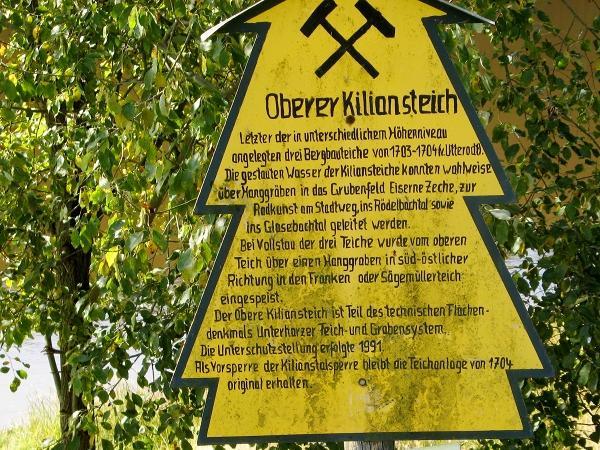 Tafel zur früheren Nutzung des Kiliansteichs